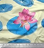 Soimoi Gelb Samt Stoff Blätter & Lotus Blume Stoff Drucke