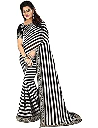 SareePopular Women's Georgette Print Saree With Blouse Piece_Free Size