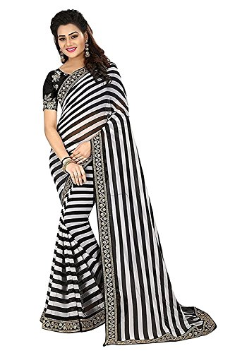 SareePopular Women\'s Georgette Striped Print Saree with Cotton and Net Embroidered Blouse Piece Free Size(Black and White, Saree-1817)