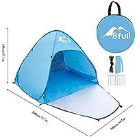Bfull Tente de Plage, Coquille de Plage Automatique Extra Légère avec Une Porte et Protection UV, Tente de Plage portative familiale en Bleu, Tente portative extérieure