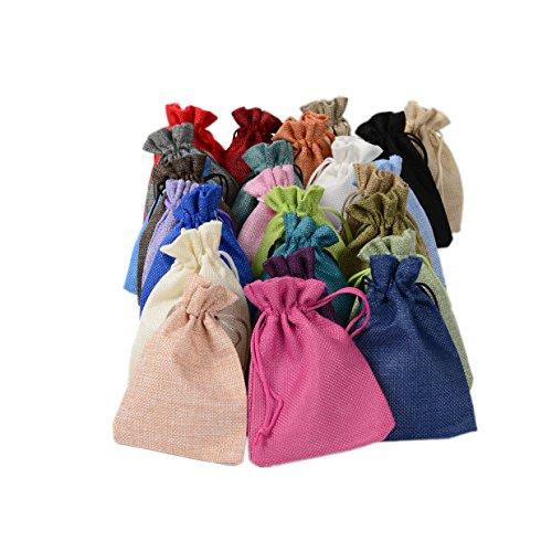 PLECUPE 20 Stück Natur Jutesäckchen Baumwollbeutel Leinen Säckchen für Hochzeit Geschenktüte, 20 x 30cm Leinen Tunnelzug Säckchen Geschenksäckchen Stoffsack aus Baumwolle Fest Party Beutel, Zufällig