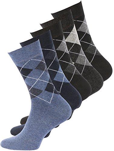 Preisvergleich Produktbild 10 Paar Herren Baumwoll Socken Karo Classics, ohne Gummibund, Gr. 43-46
