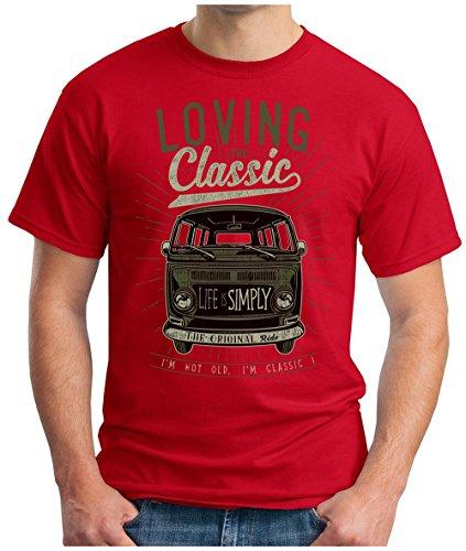 OM3 - LOVING-CLASSIC - T-Shirt ORIGINAL OLDTIMER LIFE is SIMPLY PEACE KULT AUTO BUS CULT CARS GEEK, S - 5XL Rot