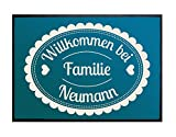 Klebefieber Wunschtext-Fußmatte Willkommen Bei Familie B x H: 70cm x 50cm