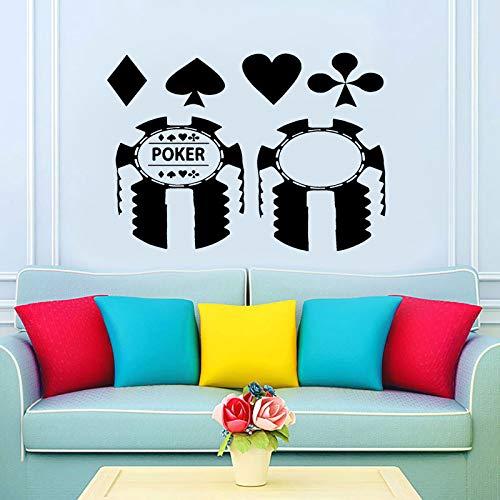 zqyjhkou Design Poker Casino Karte Muster Wandaufkleber Vinyl Aufkleber Wandbild Geld Spielen Spiel Adhesive Wallpaper Hintergrund Dekoration P308 M 59X42 cm