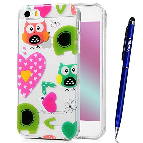 Cover iPhone 5 / 5S / SE, Yokata TPU Silicone Custodia Trasparente Crystal Clear Coque Soft Morbido Bumper Backcover Kawaii Cartoon Hülle Strane Case et Ultra Slim Protettivo Cover + 1*Penna Stilo - Amore e Gufi
