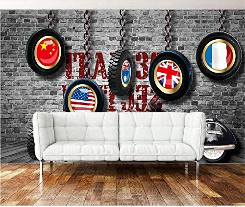 Lyqyzw Foto Personalizzata 3D Carta Da Parati Soggiorno Murales Retrò Auto Pneumatici Pittura Immagine Divano Ktv Bar Sfondo Wall Sticker 250X175Cm