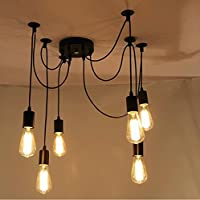 ONEVER E27 Loft Antique Chandelier Modern Chic Industrial Dining Light Ajustable DIY Ceiling Spider Light Pendant Lamp with 6 Light Heads Adapter No Bulbs