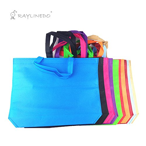 RayLineDo-Shopping-Non-Woven-Bags-Reusable-Grocery-Shopping-Tote-Bags-Convenient-Grocery-Handy-Bags-Shopping-Travel-Bags-Random-Color-8-PACK