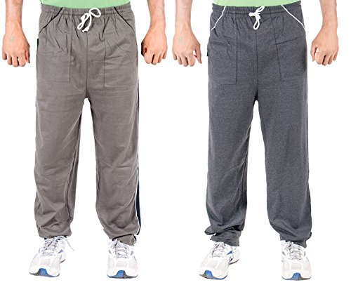 Funky Guys Men's Cotton Track Pant (Pack of 2) (TRACKPANT_C2_GRDG_42_Multi_Large)