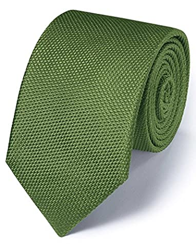 Green Silk Classic Plain Tie by Charles