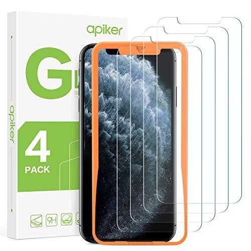 apiker [4-Unidades] Cristal Templado Compatible con iPhone 11 Pro MAX/XS MAX(6.5 Pulgadas), Protector Pantalla para iPhone 11 Pro MAX/XS MAX, Vidrio Templado con [Sin Burbujas] [2.5D Borde]