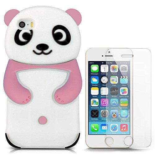 Hcheg 3D Silikon Schutzhülle Tasche für iPhone 5/5S/SE Hülle Panda Design Rosa/weiß Case Cover+ 1X Screen Protector (Pink Screen Protector 5s)