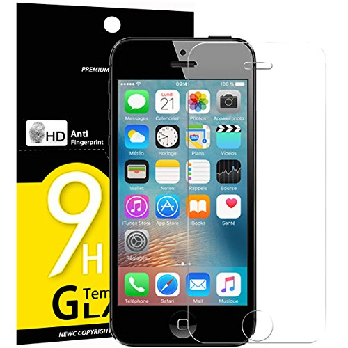 Vetro Temperato iPhone 5S / 5 / SE / 5C, Pellicola Protettiva NEW'C® in Vetro Temperato Screen Protector Film Ultra Resistente (0,33mm HD Alta trasparente) per iPhone 5S / 5 / SE / 5C