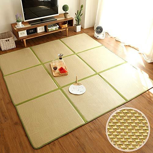 LIGUOPIN Baby-Spielmatte Krabbeldecke Baby Krabbeldecke Matt,Quadrat Natürlich Ballaststoff Bambus Geflochten Teppich,rutschfest,extra groß,Faltbar,für Innen- oder Außenbereich8# -