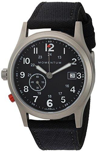 Momentum Men's Quartz Titanium and Canvas Dress Watch, Color:Black (Model: 1M-SP60B6B)