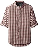 Kenneth Cole New York Men's Long Sleeve Iridescent Check Shirt, Terra Cotta Combo, X-Large