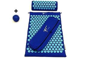 Kit d'acupression Fitem - Tapis d'Acupression + Coussin + Sac + Boule de Massage - Soulage douleurs Dos et Cou - Sciatique - Massage dos - Relaxation Musculaire - Acupuncture - Récupération post-sport (Bleu-Turquoise)