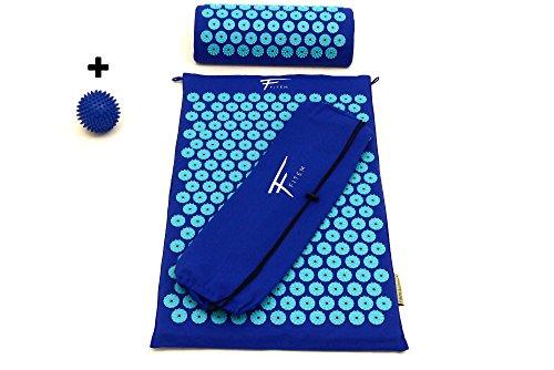 Kit d'acupression Fitem - Tapis d'Acupression + Coussin + Sac + Boule de Massage - Soulage douleurs Dos et Cou - Sciatique -...