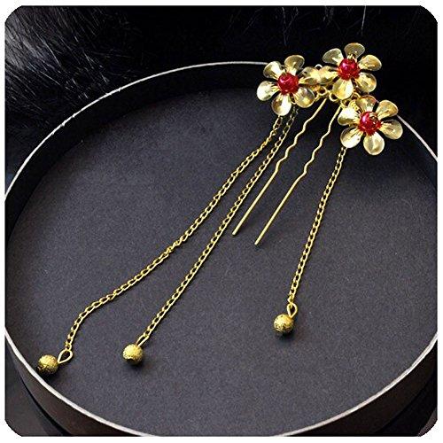 Ensemble de 2 traditionnel chinois cheveux de mariage peignes accessoire, doré