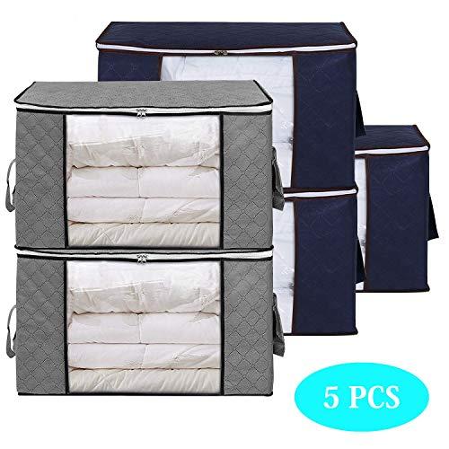 Qisiewell Aufbewahrungstasche Kleideraufbewahrung 60 x 35 x 43 cm mit verstärktem Griff und Stabilem Reißverschluss aus Dickem Stoff für Bettwäsche Kleidung Kissen Faltbar Groß Grau und Blau 5er-Pack
