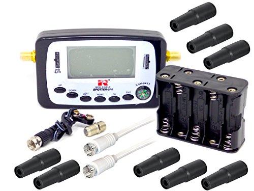 Satfinder SF-4 Spotter Professionell mit Kompass und Ton LCD-Display Messgerät mit 8 Wetterschutztüllen