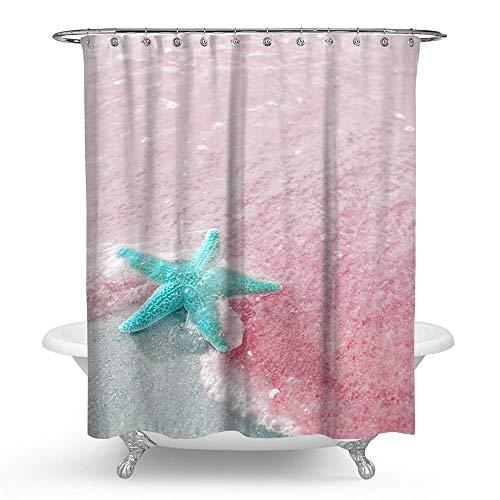 KISY Bling Pink Sea Ocean Stoff Duschvorhang Sweet Seestern Bad Decor beschwerter Duschvorhang für Badewanne Dusche 177,8 x 177,8 cm romantische Frauen wie - Pink Duschvorhang Bling
