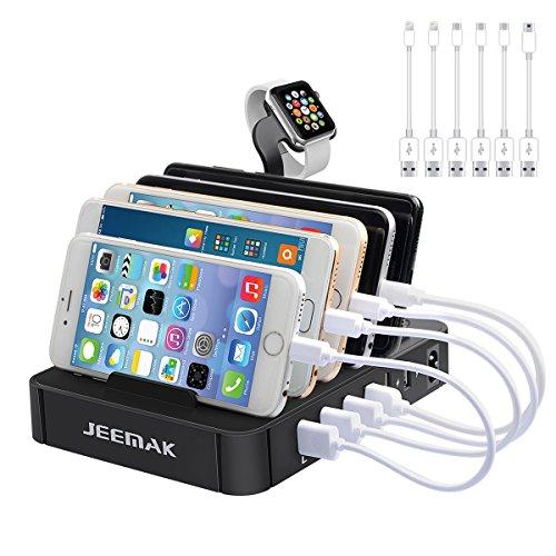 USB Ladestation, JEEMAK 6 Ports USB Charging Station Multi Universal Docking Ladegerät für Apple iPhone iPad Samsung Smartphones Handys Tablets, 6 kurze Kabel Inklusive