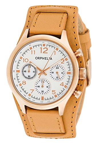 Orphelia - 81504 - Montre Femme - Quartz - Chronographe - Chronomètre - Aiguilles - Luminescent - Bracelet cuir Marron