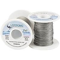 Lotitong - Cable de alambre de acero para pesca, 50 m, nailon, 7 x 7 y 49 cm, acero inoxidable, 0,8 mm