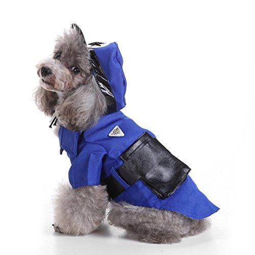 Polizei Kostüm Hut Mode - Hundebekleidung, Haustier Kleiner Hund Hoodie Polizei Anzüge Mantel Winter Kostüm Brustschutz Mode Set mit Hut Siamese Coat 4 Größe (Color : Blue, Size : XL)