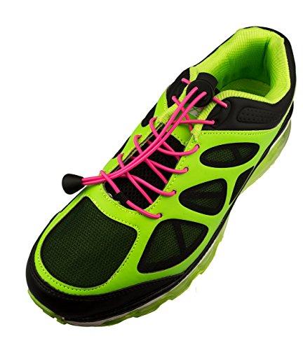 Rosa Bungee-seile (Flexy Lock Lace Schnell-Schnürsystem aus Polyester in neon pink große Farbwahl auch geeignet als Triathlon-Schnürsystem, ideal für Kinder, Senioren oder körperlich eingeschränkte Personen)