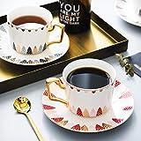 ACOOME - Set di Tazze da tè e caffè con piattino, in Porcellana Bone China, Porcellana d'Epoca Fiore di Tazza di tè, 1 x Tazza, 1 x piattino (Rosso)