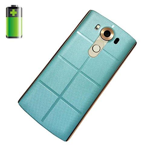 Prevently Akku Wireless Backcover + Empfänger für LG V10 Echtes Leder Qi Wireless Ladegerät ChargingCase Akku + Receiver Aufkleber Unterstützung NFC für LG V10 (Blau)