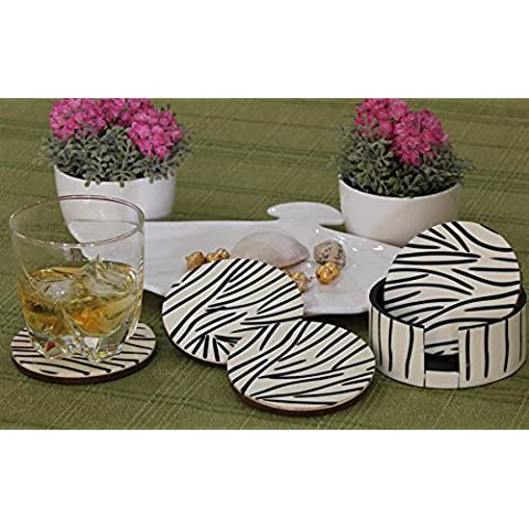 descuento de hoy - Parents to Be Gifts - Artisan Drink Coasters Set of 4 - Wooden Animal Print Black and White Coasters with a Holder for Bar / Dining / Kitchen
