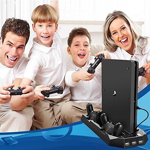 PECHAM Stand vertical para PS4/PS4 Slim con ventilación dual estación de carga de mandos y 3 puertos USB