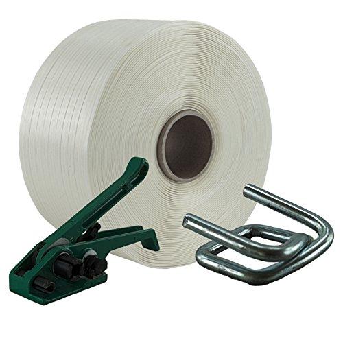 19 mm Textil Umreifung Set besteht aus Umreifungsband Bandspanner und Metallklemmen