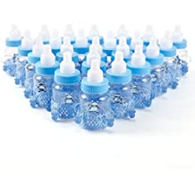 CLE DE TOUS - 24pcs Mini biberón Dulceros Recuerdos para Dulces Regalos para baby showers Bautizo (Azul Osito con chupete)