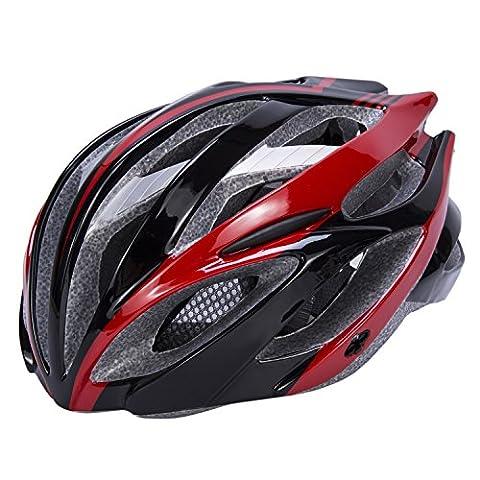 Babimax Casque BMX Casque Vélo Respirant Casque Route Montagne Multifonctionnel Casque Visière Léger pour Cycliste Sport Cyclisme Casque Unisexe Adultes Jeunes Rouge