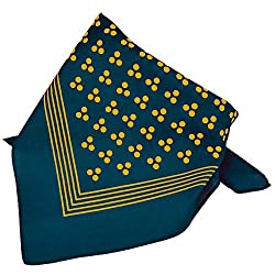 Navy Blue With Gold 3-Dot & Stripes Bandana Neckerchief by Ties Planet