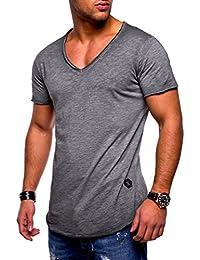 Ketamyy Hombre Color Puro Algodón V Cuello Sección Delgada Manga Corta  Camiseta 0775970210c