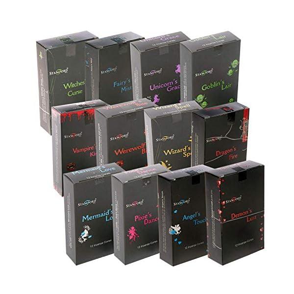 Stamford: 144 conos de incienso color negro (12 cajas de 12 conos). Paquete de muestras mezcladas (caja variada)