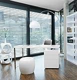 Schreib-Tisch weiß Hochglanz 180x85 cm recht-eckig | White Style | Designer Schreibtisch Weiss Hochglanz inkl. Container 3 Schubladen 180cm x 85cm