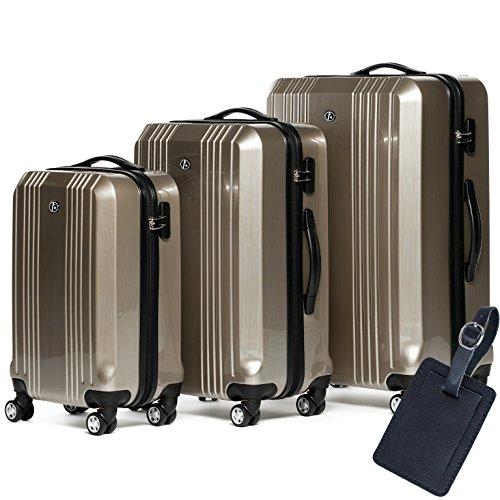 FERGÉ® Dreier Kofferset Leder Adressanhänger CANNES Trolley-Koffer leicht Reisekoffer NEU   Set 3-teilig Hartschalenkoffer 4 Zwillingsrollen (360°)   Koffer Hartschale champagner-metallic (Metallic-gepäck-set)