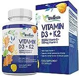 Vitamin D 3,000 IU & Vitamin K2 MK-7 100mcg - Premium Formulation for Maximum Absorption -120 days supply - Supports Maintenance of Normal Bones - 100% Vegetarian & Vegan Supplement by Wellesta
