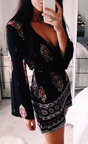 Floreali Partito Abiti Dress Vestitino Abito da Spiaggia Manica Lunga V Collo Vestiti Estivo Donna Nero