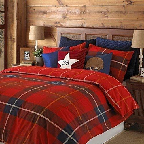 Schottenmuster Kariert Rot Umkehrbar Baumwollmischung Breites Doppelbett (Einfache Creme Passendes Leintuch - 180 X 200CM + 25) 4 Teile Bettwäsche Set -