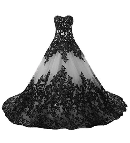 O.D.W Lange Spitze Vintage Brautkleider Frauen Gotisch Hochzeitskleider(Weiß+Schwarz, 54)