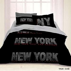Housse de Couette 220x240 + 2 taies BLACK NEW YORK - Les Douces Nuits de Maé