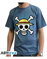 One Piece T-Shirt: Skull with Map (Blau) Größe L